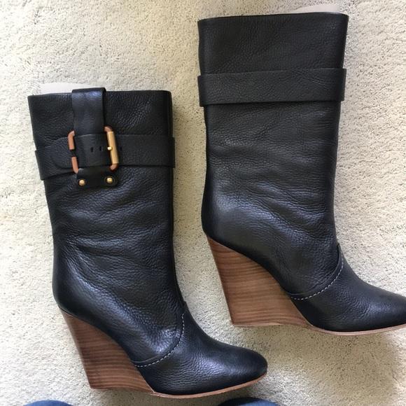 "90d116c3b47 Chloe Shoes - Chloe 4"" wood wedge leather boot - black"